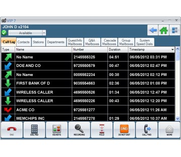 ESI Telephone Systems For Businesses in North and South Carolina - VIP_7_Call_Log_Screen_shot